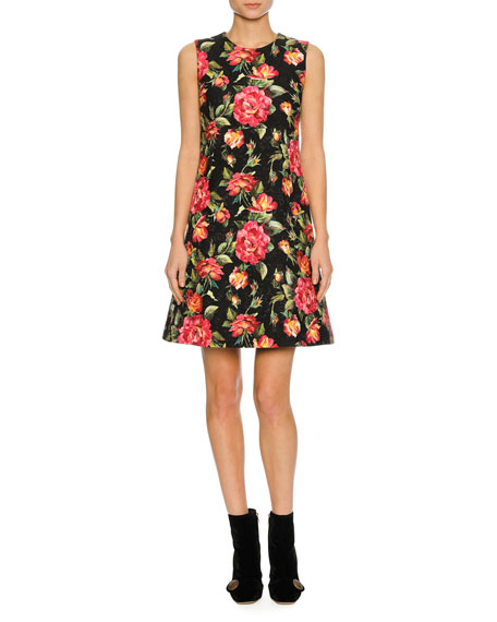 Dolce & Gabbana Sleeveless Macro Rose-Print Dress, Black