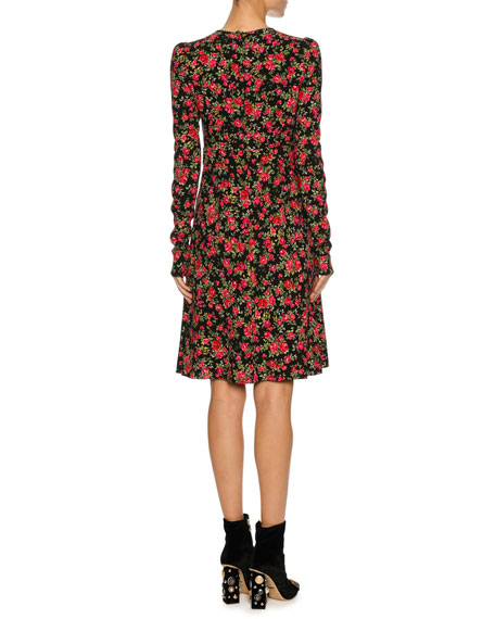 Floral-Print Keyhole Long-Sleeve Dress, Black