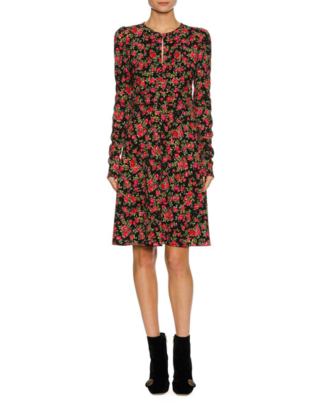 Dolce & Gabbana Floral-Print Keyhole Long-Sleeve Dress, Black
