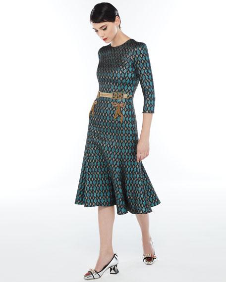 3/4-Sleeve Geometric Jacquard Cocktail Dress w/Embellished Waist