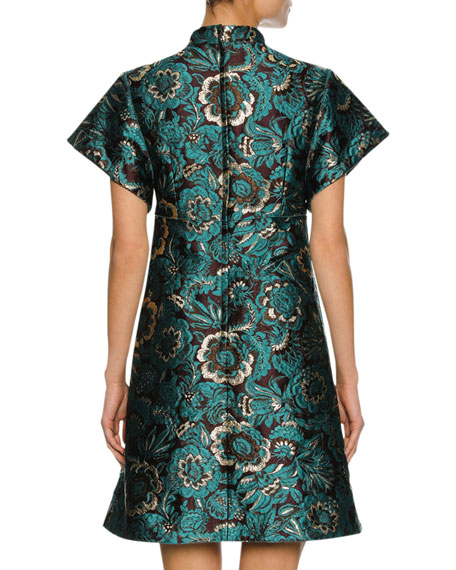 Floral Lurex® Jacquard A-Line Cocktail Dress, Blue