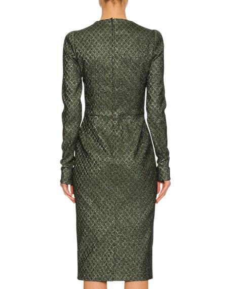 Long-Sleeve Geometric Lamé Jacquard Cocktail Dress, Green