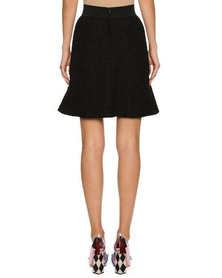 Crystal-Bow A-Line Miniskirt, Black