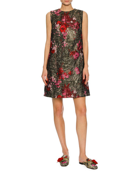 Dolce & Gabbana Sleeveless Bouquet Jacquard Shift Dress,
