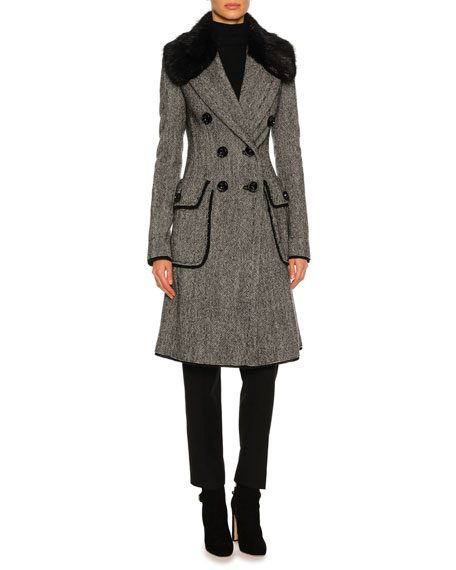 Dolce & Gabbana Double-Breasted Tweed Fur-Collar Coat, Gray