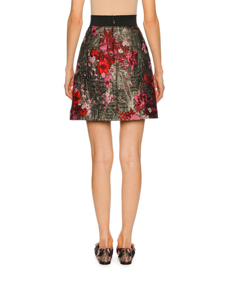 Metallic Floral Bouquet Jacquard Skirt, Multi