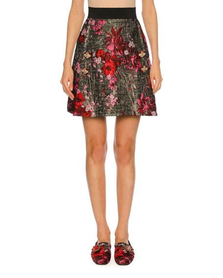 Dolce & Gabbana Metallic Floral Bouquet Jacquard Skirt,