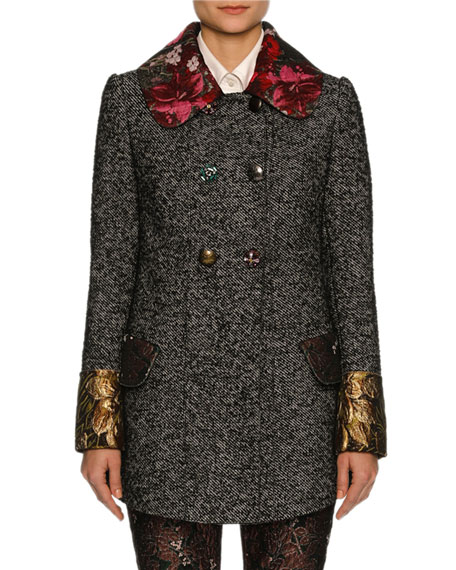Double-Breasted Tweed Jacket with Floral Trim, Gray