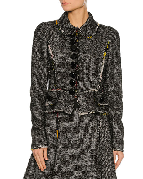 Dolce & Gabbana Chiffon-Trim Tweed Jacket, Gray and