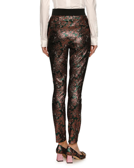 Floral Jacquard High-Waist Leggings, Pink/Green