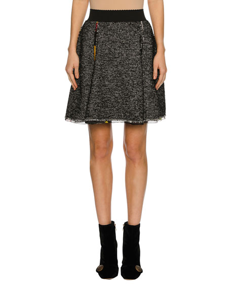 Dolce & Gabbana Chiffon-Trim Tweed Skirt, Gray
