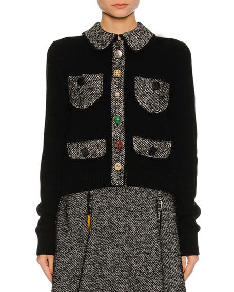 Dolce & Gabbana Tweed-Trim Patch-Pocket Sweater, Black