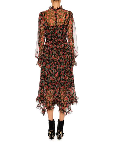 Rose-Print Chiffon Midi Dress, Black