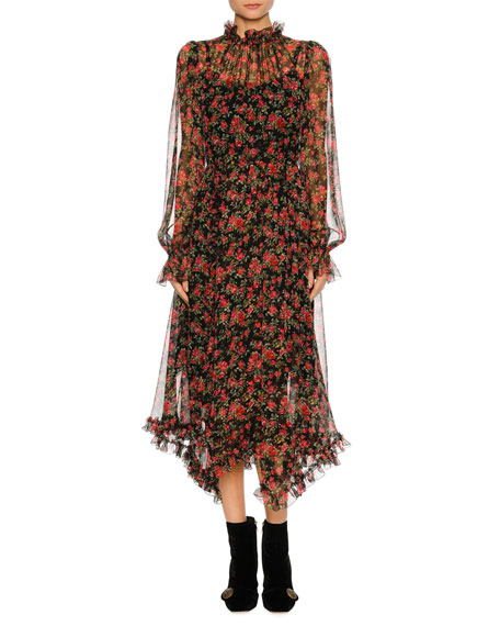 Dolce & Gabbana Rose-Print Chiffon Midi Dress, Black