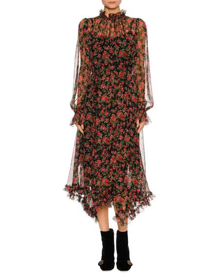 Dolce & Gabbana Woman Floral-print Silk-chiffon Midi Dress Black Size 36 Dolce & Gabbana R36CpHrO