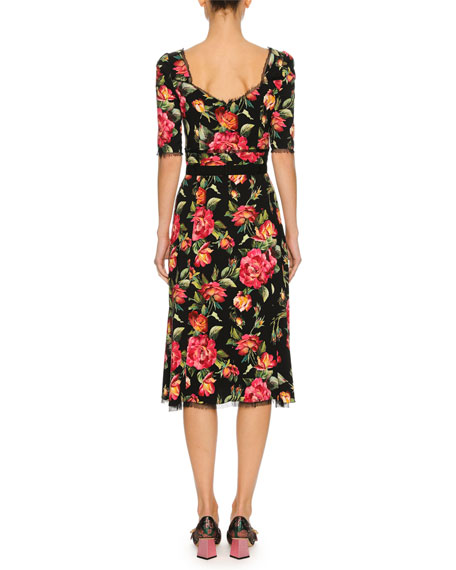 Rose-Print Sweetheart A-Line Dress, Black