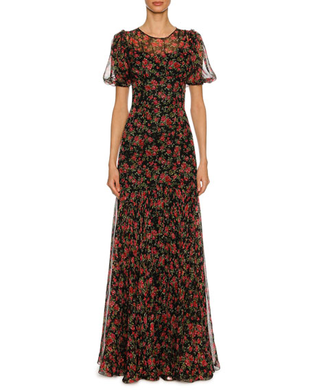 Dolce & Gabbana Rose-Print Chiffon Short-Sleeve Gown, Black