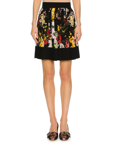 Dolce & Gabbana Floral Bouquet Pleated Miniskirt, Black