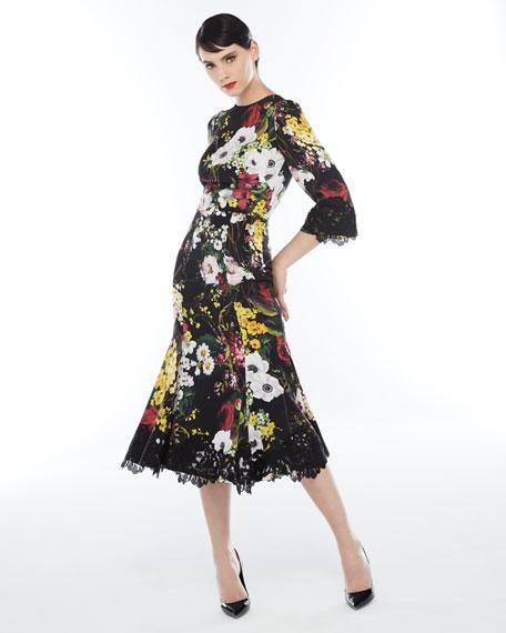 Bouquet-Print 1/2-Sleeve Cocktail Dress, Black Pattern