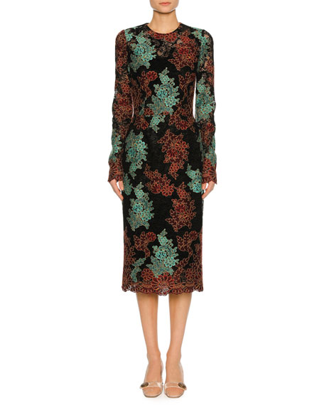 Lace-Embroidered Long-Sleeve Cocktail Dress