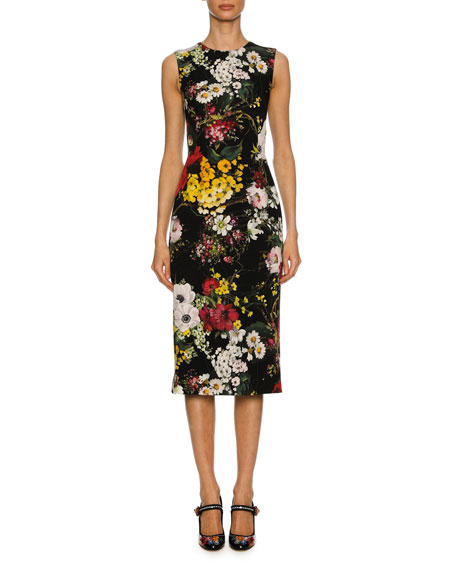 Dolce & Gabbana Sleeveless Bouquet-Print Charmeuse Cocktail