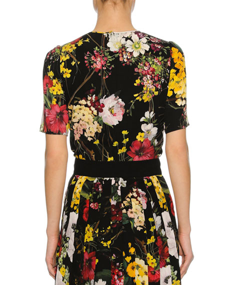 Floral Bouquet Silk Charmeuse T-Shirt, Black
