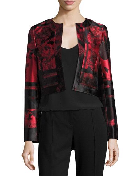 Floral & Stripe Open-Front Cropped Jacket, Red/Black