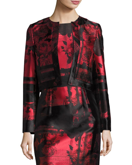 Carolina Herrera Floral & Stripe Open-Front Cropped Jacket,