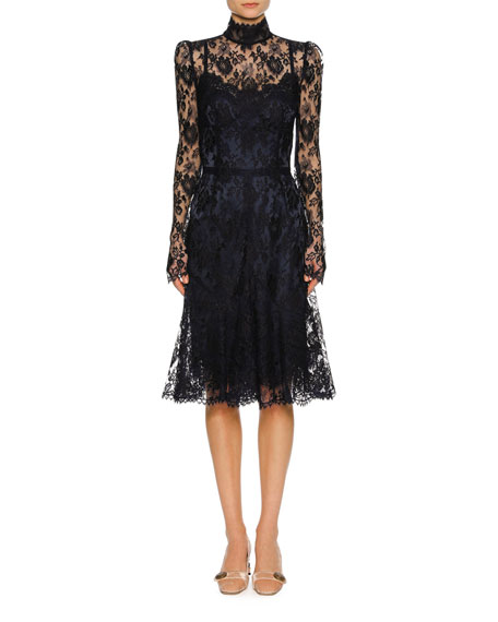 Dolce & Gabbana Floral Lace Mock-Neck Dress, Navy