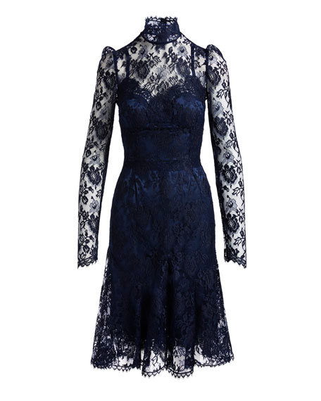 Floral Lace Mock-Neck Dress, Navy