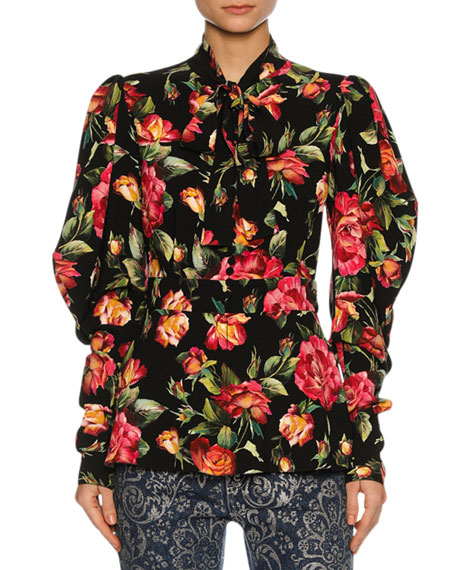 Dolce & Gabbana Rose-Print Cady Tie-Neck Blouse, Black