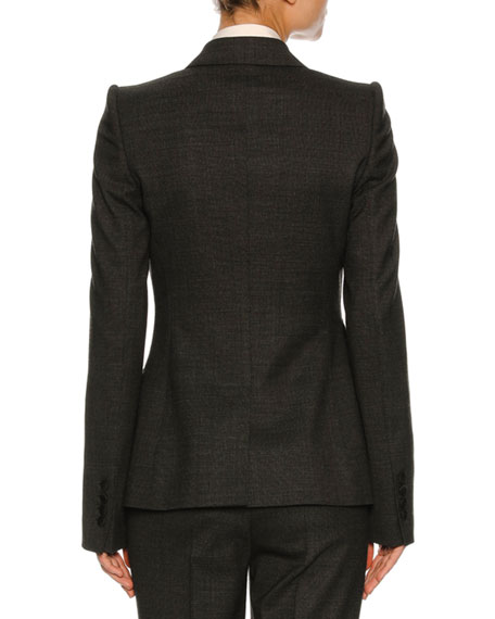 Stretch-Flannel Suit Jacket, Dark Gray