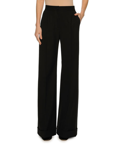 Dolce & Gabbana Cuffed Wide-Leg Pants, Black