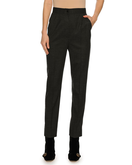 Flannel High-Waist Straight-Leg Pants, Dark Gray