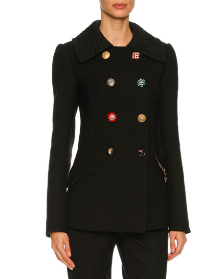 Dolce & Gabbana Double-Breasted Embellished-Button Peacoat, Black