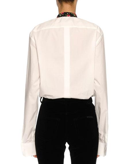 Rose-Paneled Poplin Tunic Blouse, White Pattern