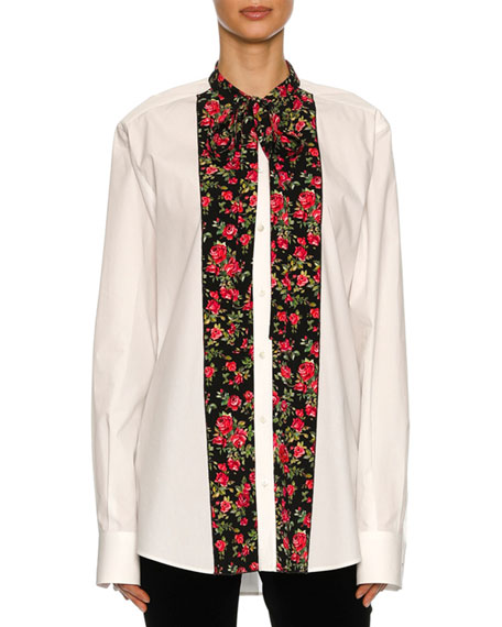 Dolce & Gabbana Rose-Paneled Poplin Tunic Blouse, White