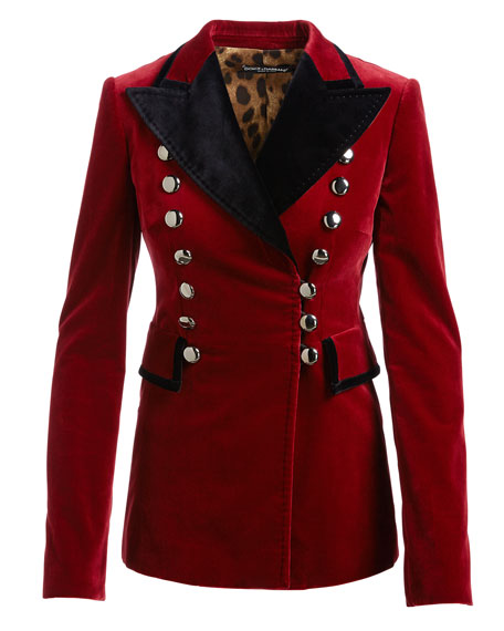 Velvet Tuxedo Jacket with Floral Embroidery, Red