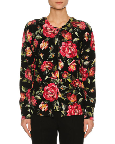 Dolce & Gabbana Rose-Print Cashmere Shell Top, Black