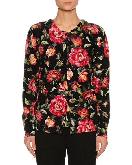 Dolce & Gabbana Rose-Print Cashmere Cardigan, Black