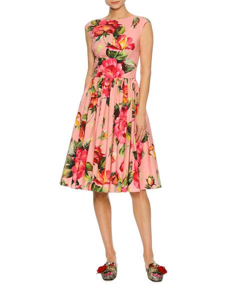 Dolce & Gabbana Cap-Sleeve Floral-Print Poplin Dress, Pink