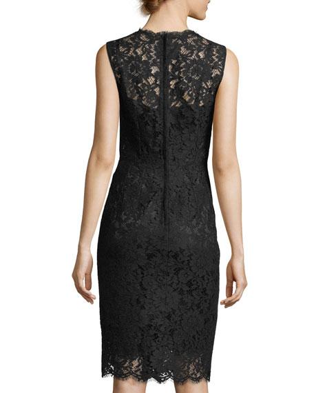 Sleeveless Fitted Lace Sheath Dress