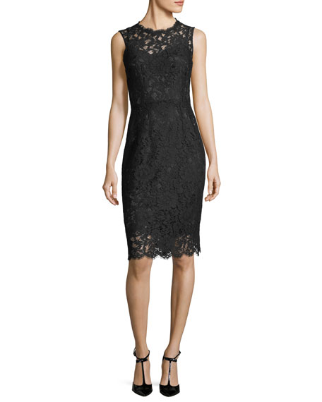 Dolce & Gabbana Sleeveless Fitted Lace Sheath Dress