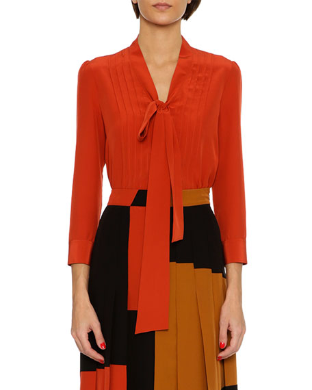 Bottega Veneta Tie-Neck Crepe de Chine Blouse, Red