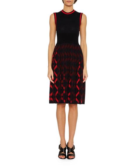 Sleeveless Knit A-Line Dress, Blue/Red