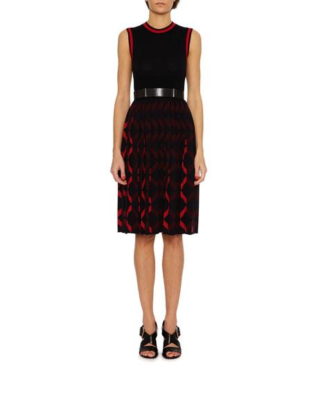 Bottega Veneta Knit Cardigan w/Contrast Cuffs, Blue/Red and