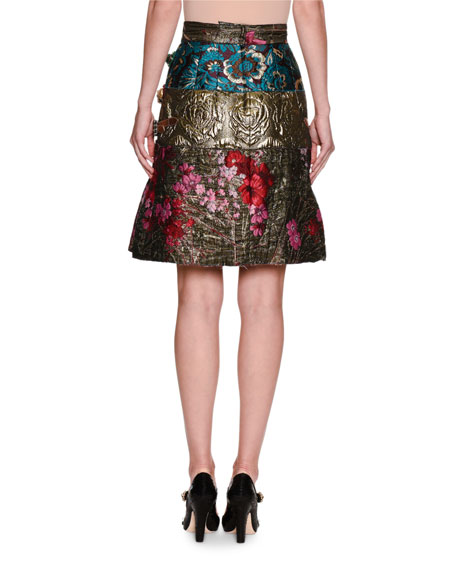 Floral Mixed Jacquard Miniskirt, Multicolor