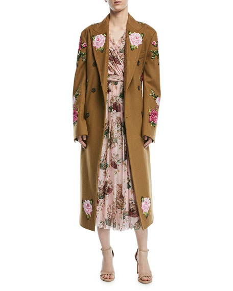 Dolce & Gabbana Rose-Embroidered Double-Breasted Wool-Alpaca
