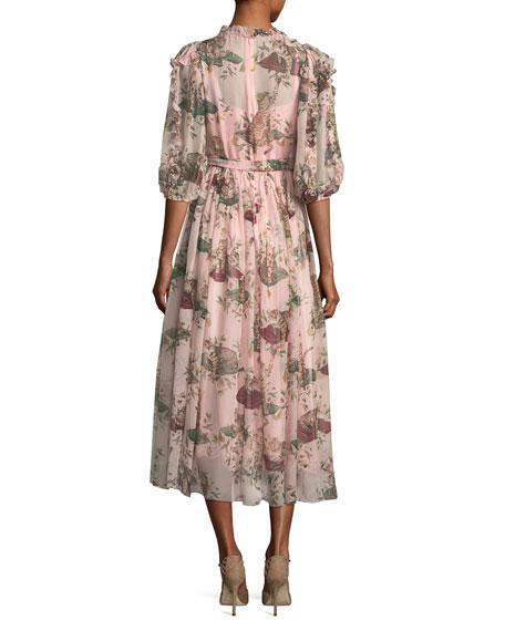 Cat & Floral Chiffon Wrap Dress, Light Pink