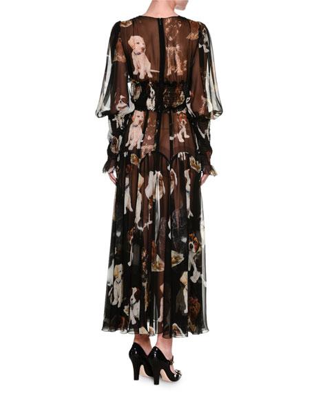 Dog-Print Smocked Chiffon Gown, Black